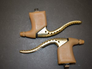 Pair Gold MAFAC Course brake levers vintage road bikes France nos