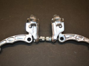 Old school bmx Chang Star MX 2 fingers levers silver aluminium 80s nos