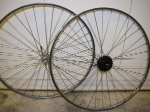 Nos Vintage Road Racing Wheel Set Rigida rims chrome 36 hole Sachs hubs mailard freewheel 6 speed