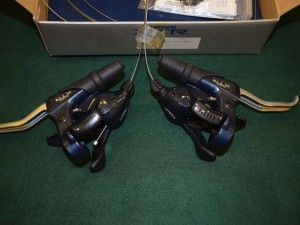 Shimano XTR ST M910 Shifter Brake lever Set 3x8 speeds vintage mtb dark blue NIB