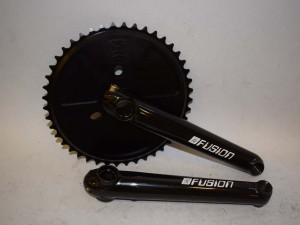 NOS FUSION crankset 3piece 175mm HARO Chain ring USA MADE 44teeth black 20013