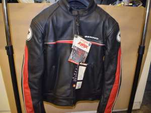 BERING Blouson cuil HAWK sport leather Motorcycle jacket waterproof Windproof Breathable Large Size black/red
