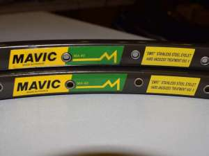 Mavic MA 40 rim Set 700c 28'' 32 hole road clincher dark brown Vintage NOS