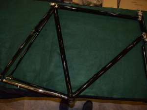 Vintage steel road racing frame/fork 1'' 600mm/570mm 126mm rear axle black NOS