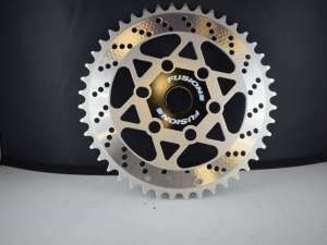 Fusion chainwheel sprocket chainring 44 teeth old school bmx silver drilled NOS